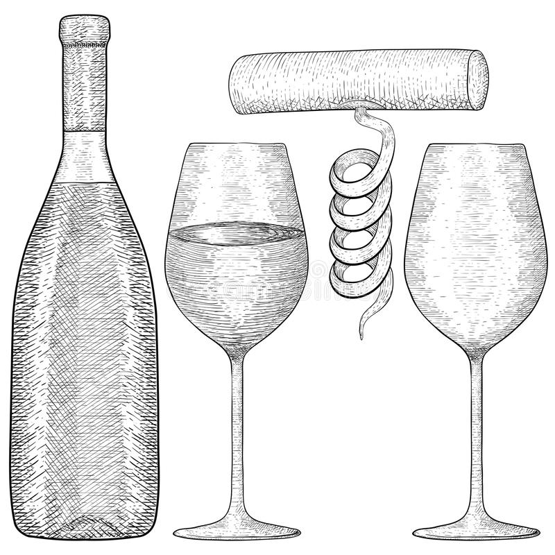 酒瓶和玻璃与拔塞螺旋 手拉的草图 向量例证