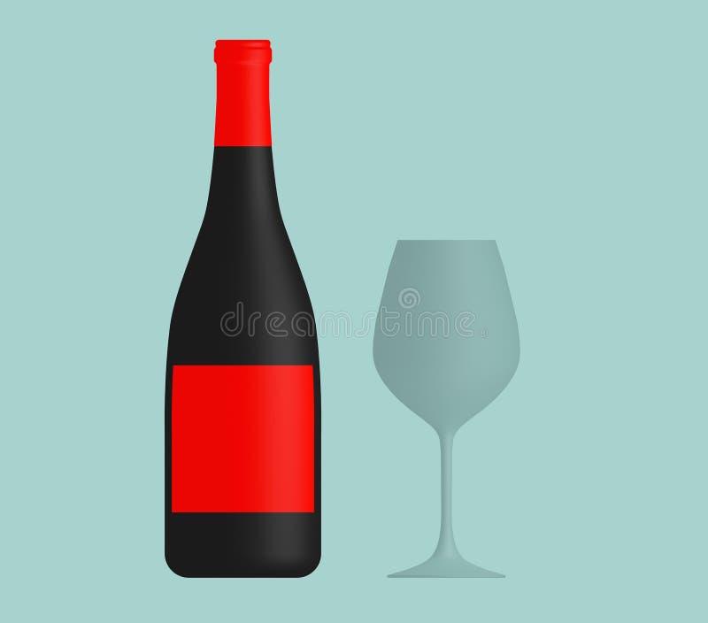 酒瓶和玻璃的平的概念性例证 库存例证