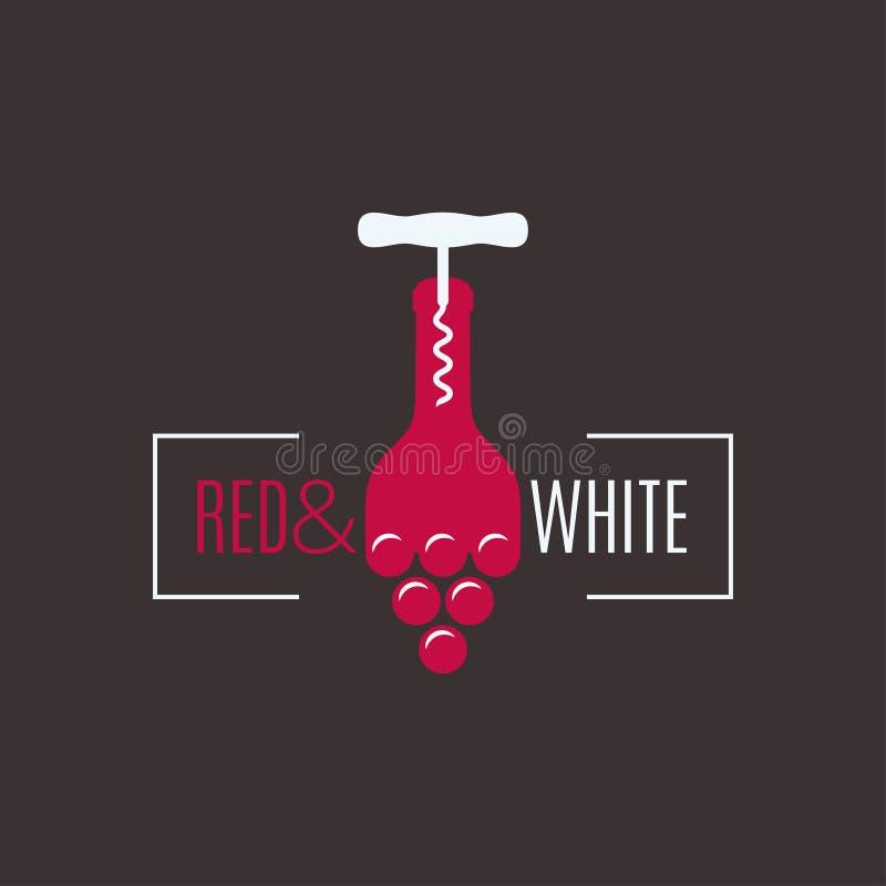 酒瓶商标 拔塞螺旋有葡萄酒设计背景 向量例证