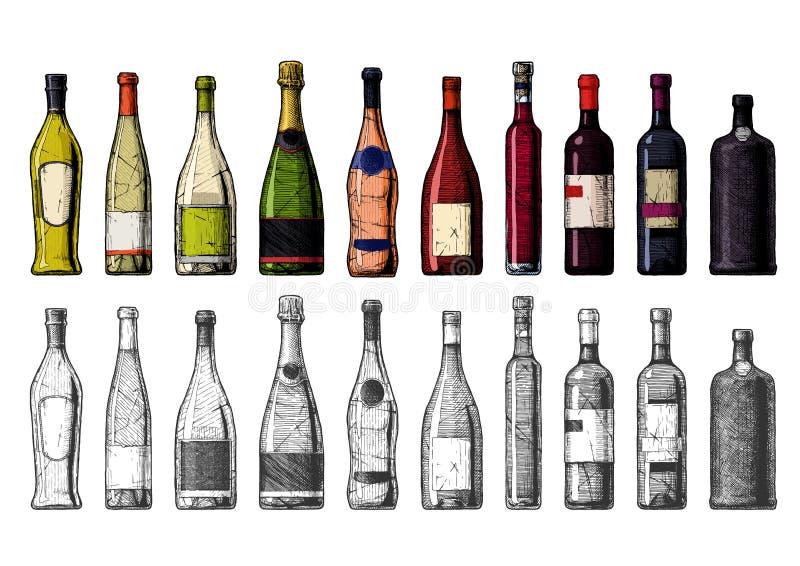 酒瓶的类型 库存例证