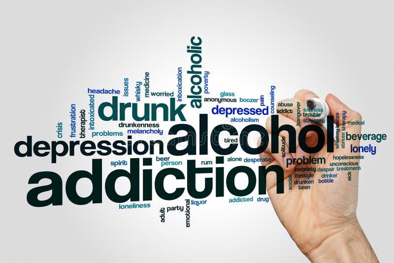 酒瘾词在灰色背景的云彩概念 库存图片