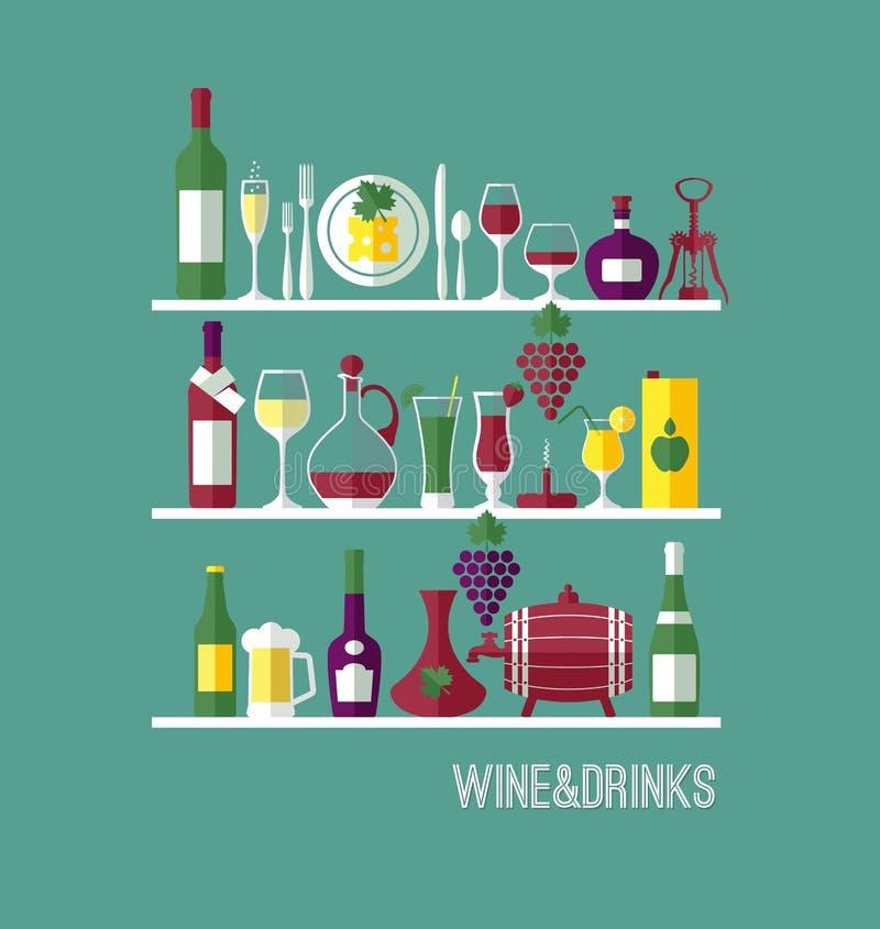 酒的传染媒介储蓄例证 免版税库存照片