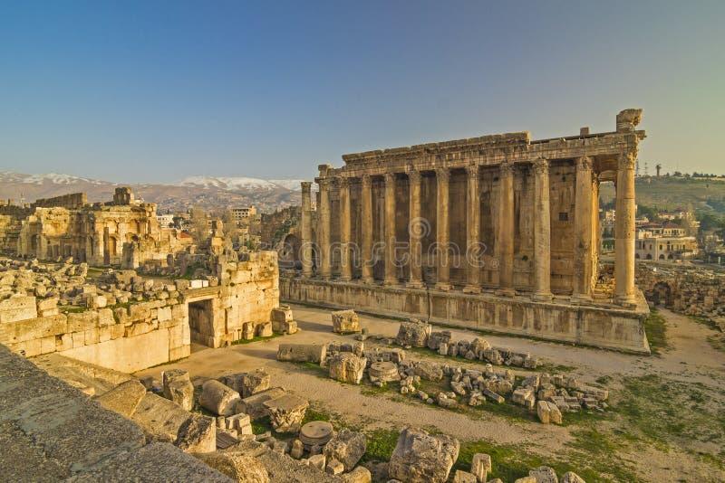 酒神寺庙废墟在巴勒贝克寺庙复合体的 贝卡谷地,黎巴嫩 库存图片