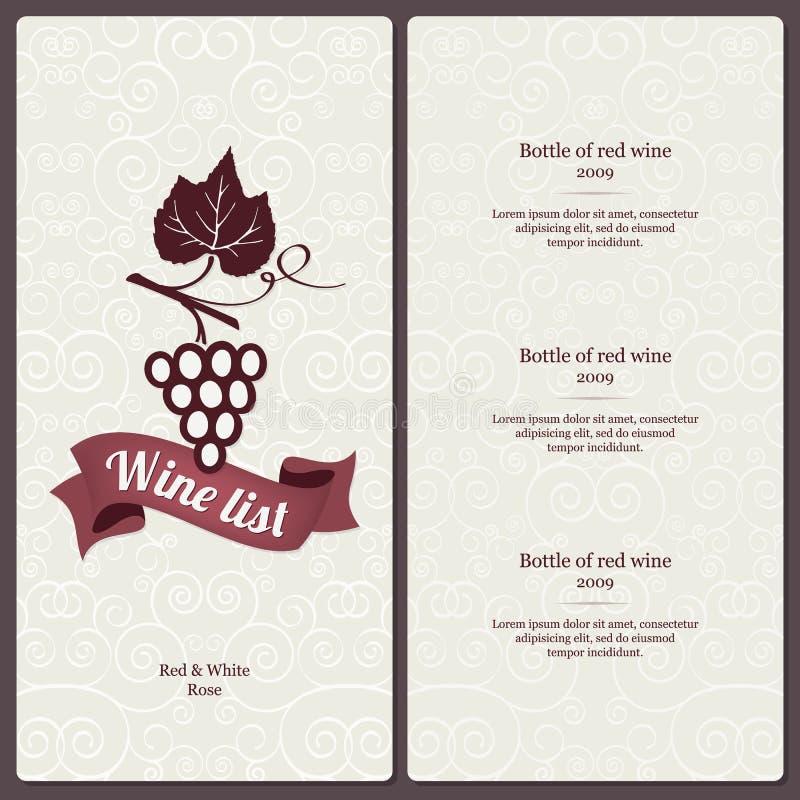 酒类一览表设计 皇族释放例证