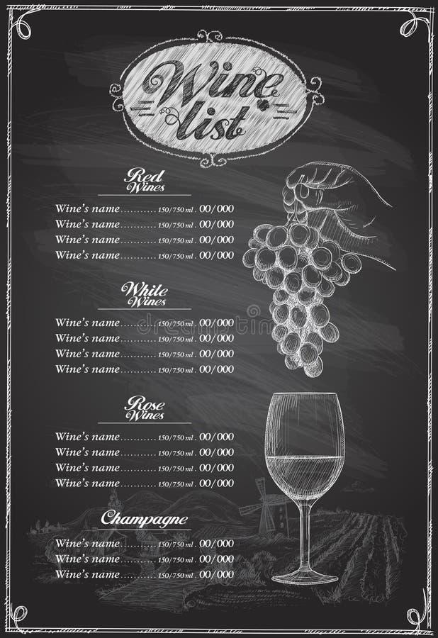 酒类一览表黑板图表例证 皇族释放例证