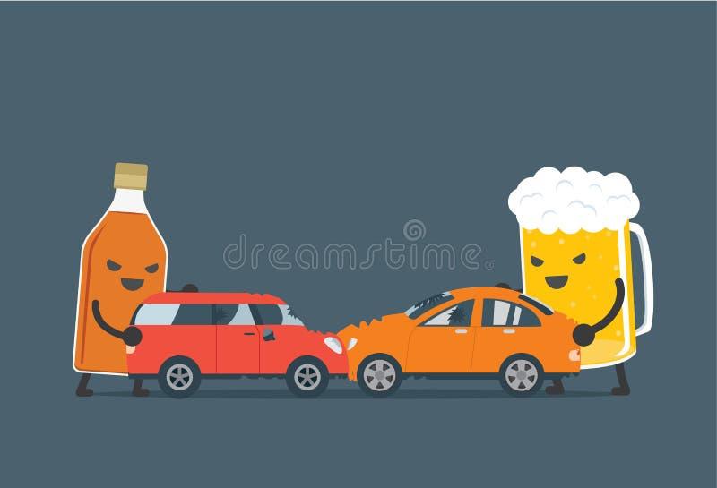 酒精做车祸 向量例证