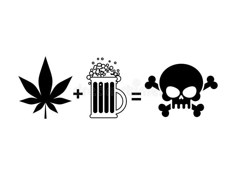 酒精和药物是死亡 杯子啤酒和大麻叶子是eq 库存例证
