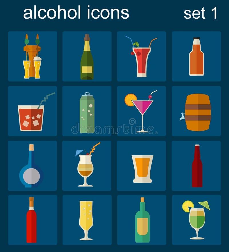 酒精喝图标 被设置的16个平的象 皇族释放例证