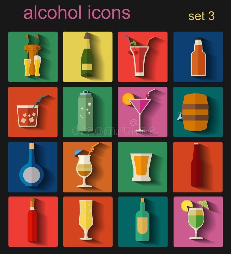 酒精喝图标 被设置的16个平的象 向量例证