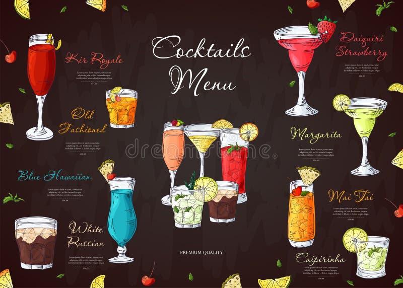 酒精喝菜单 酒吧咖啡馆或餐馆的小册子模板 与手拉的元素的传染媒介例证 库存例证