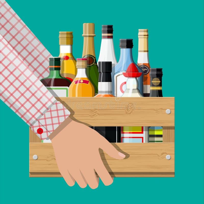 酒精在手中喝在箱子的汇集 皇族释放例证