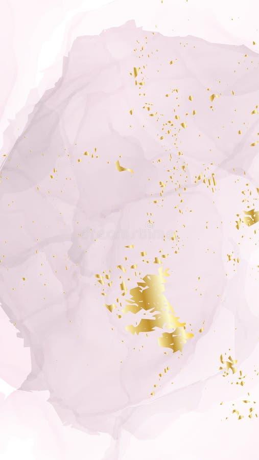 酒精墨水婚礼邀请模板 嫩软的珊瑚金卡片有液体油漆背景 夏天贺卡装饰 库存例证