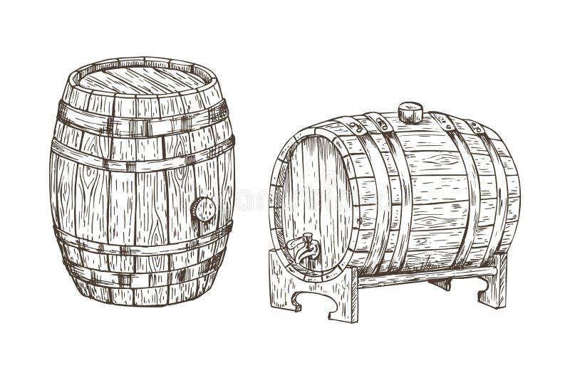 酒精存贮形象艺术的橡木容器 向量例证