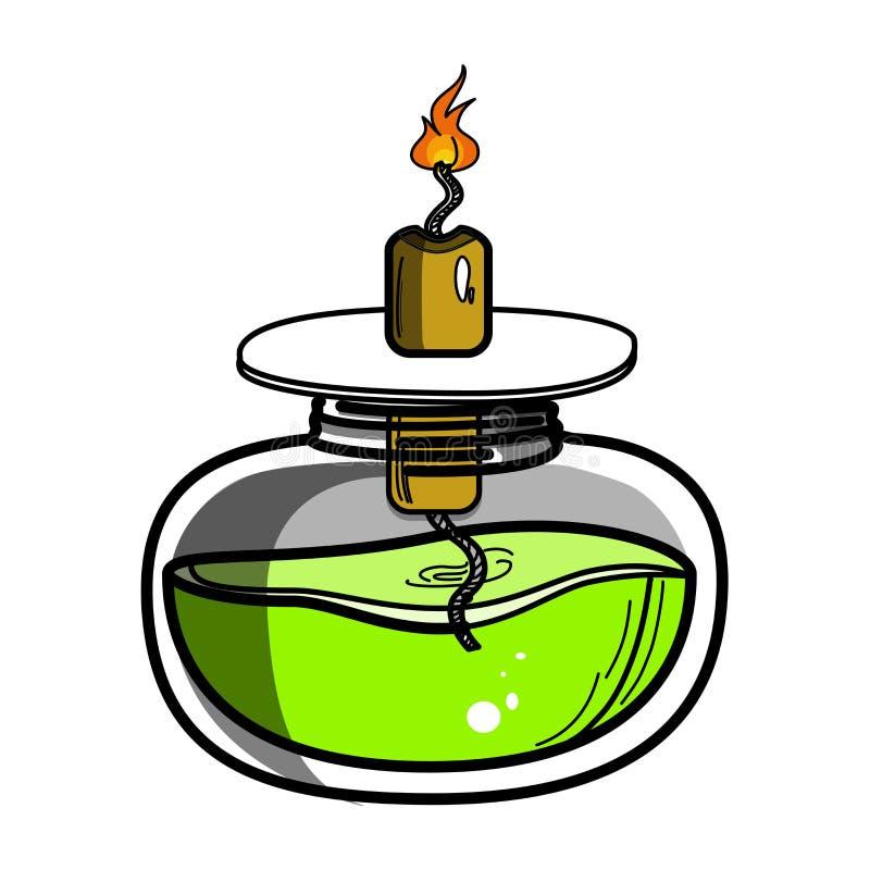 酒精灯化学制品燃烧器颜色剪影  皇族释放例证