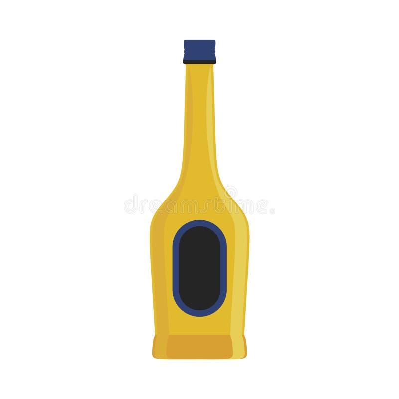 酒精瓶饮料传染媒介象例证 玻璃酒吧饮料被隔绝的白色设计 液体标签标志党客栈 向量例证