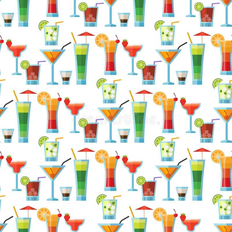 酒精甜鸡尾酒无缝的样式背景果子冷的饮料热带世界性生气勃勃党的酒精 库存例证