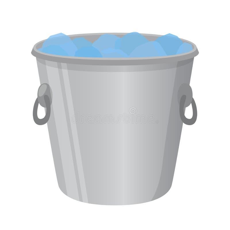 酒精的,致冷机冰桶 动画片平的样式 也corel凹道例证向量 向量例证
