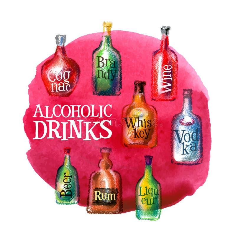 酒精饮料传染媒介商标设计模板 库存例证