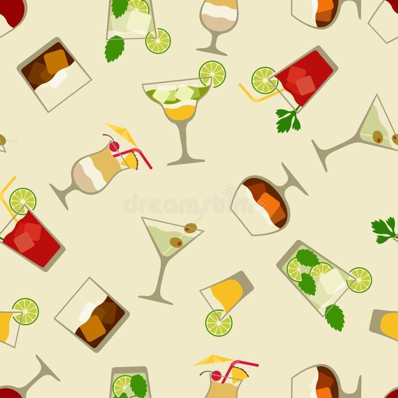 酒精饮料和鸡尾酒无缝的样式 向量例证