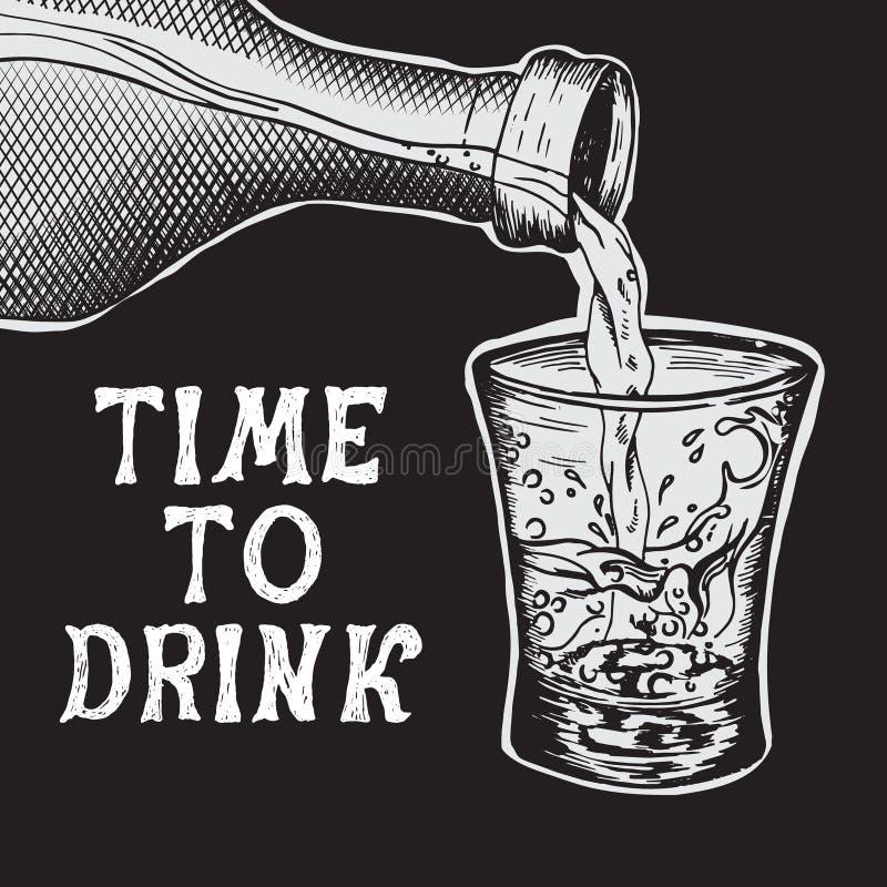 酒精饮料涌入了玻璃 库存例证