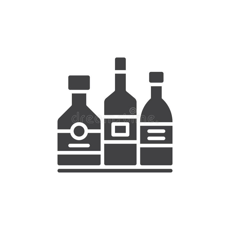 酒精饮料装瓶象传染媒介,被填装的平的标志,在白色隔绝的坚实图表 向量例证