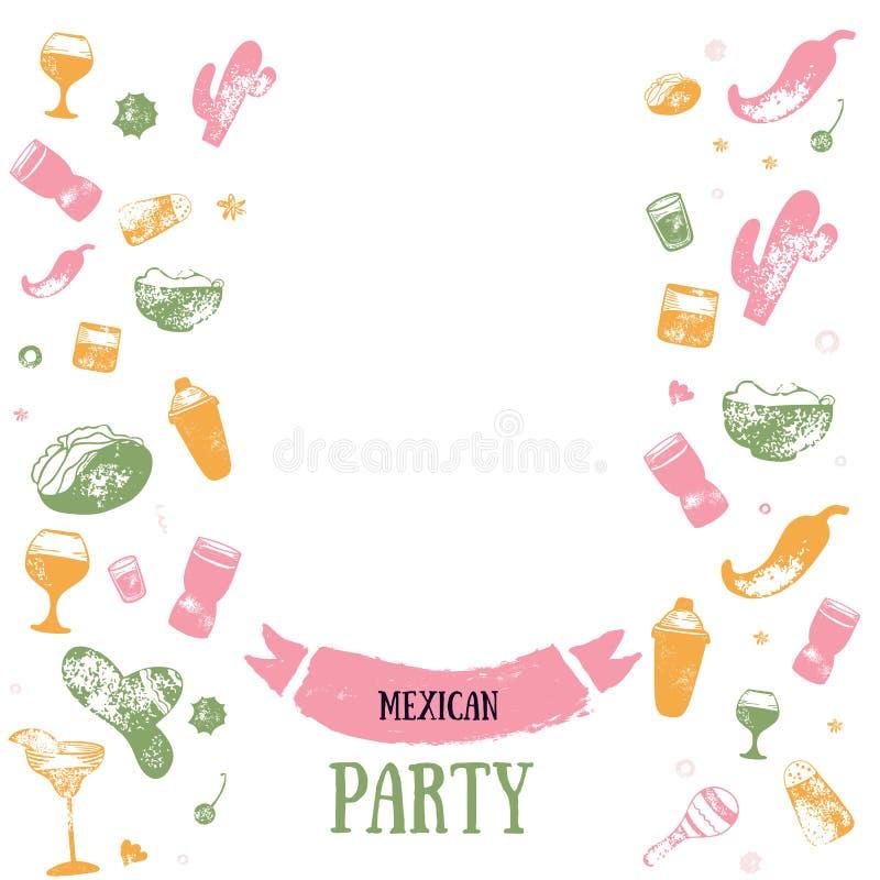 酒精饮料酒吧与难看的东西玻璃,饮料的菜单横幅 五颜六色的图画样式 在黑暗隔绝的模板设计 库存例证