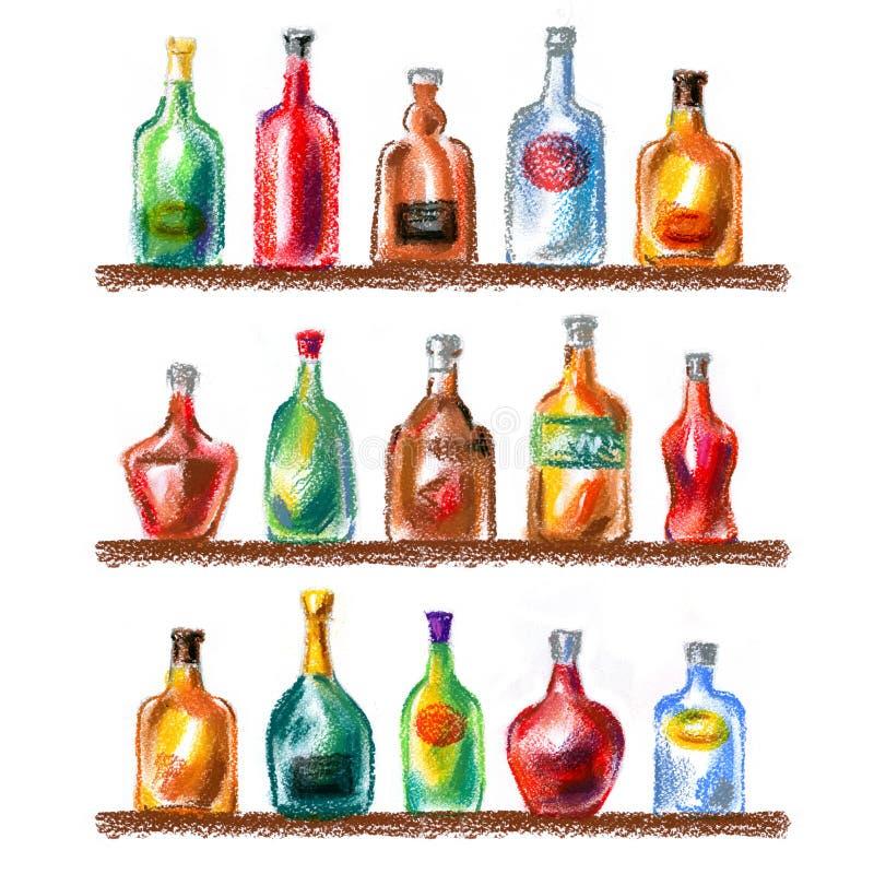 酒精饮料,在白色背景的饮料 向量例证