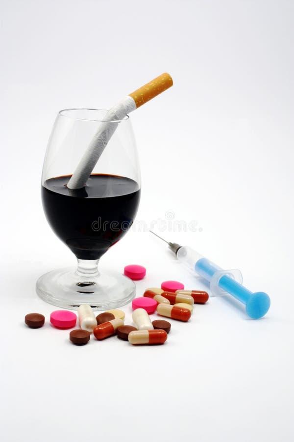 酒精香烟药物没有 免版税库存图片