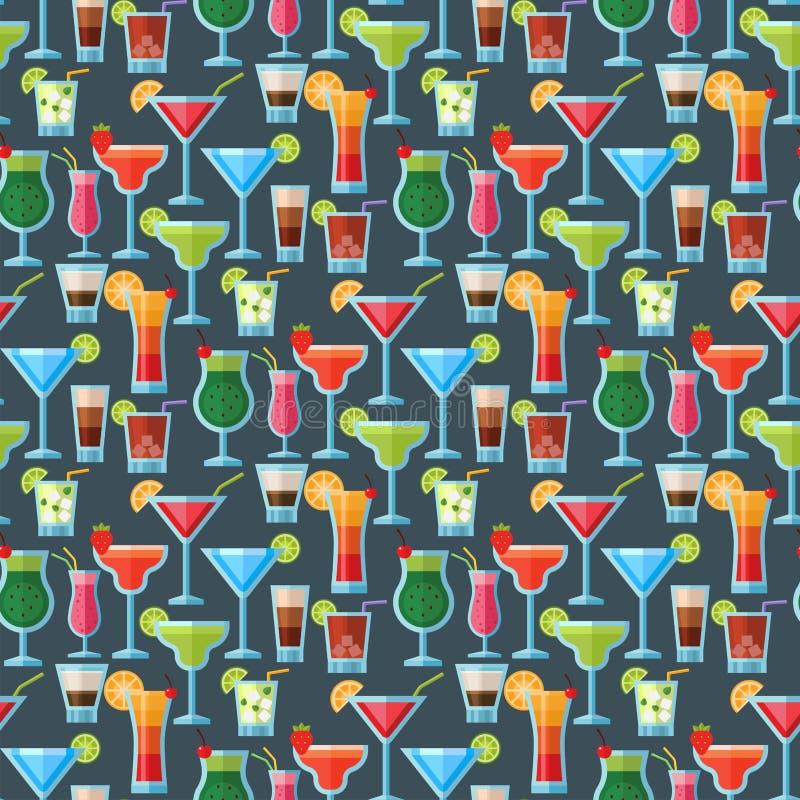 酒精鸡尾酒无缝的样式背景果子寒冷喝热带世界性生气勃勃党酒精甜点 皇族释放例证