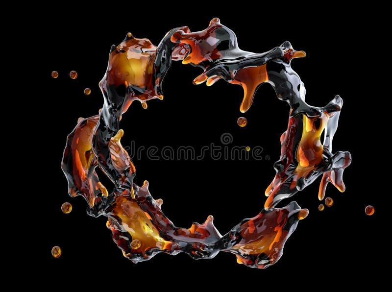 酒精,可乐,咖啡液体飞溅与被隔绝的小滴 3d例证 皇族释放例证