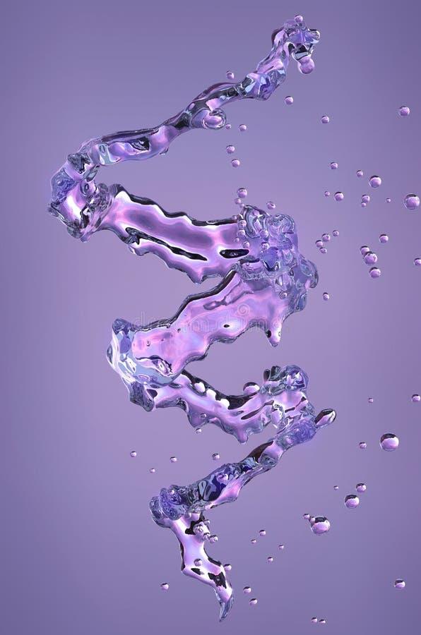 酒精,水,与小滴的汁液液体螺旋,装饰 3d例证 库存例证