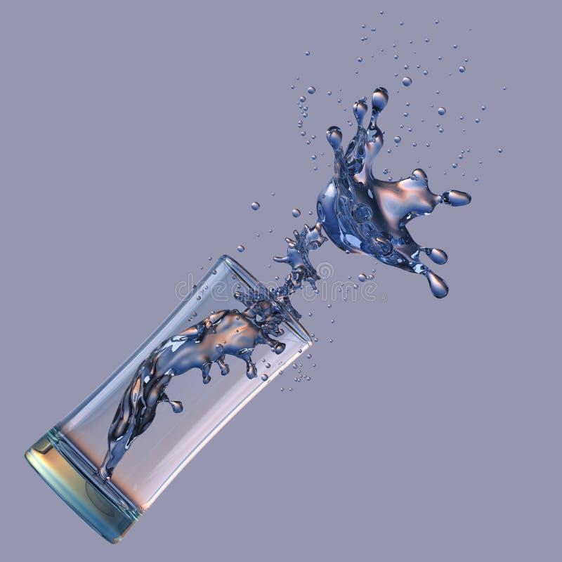 酒精,水,汁液液体飞溅在玻璃外面,装饰 3d例证 皇族释放例证