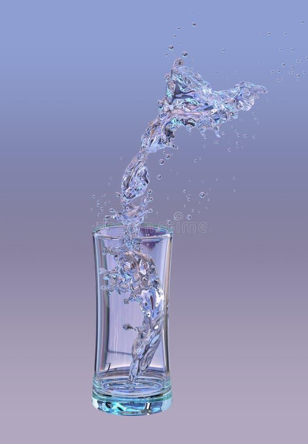 酒精,水,汁液液体飞溅在玻璃外面,装饰 3d例证 向量例证