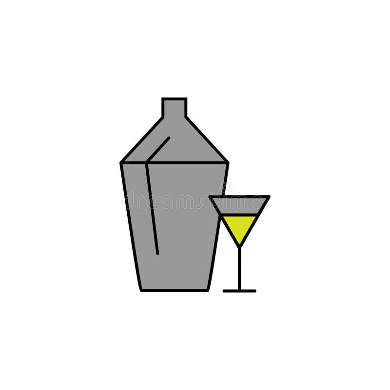 酒精,饮料 赌博娱乐场象的元素流动概念和网apps的 详述的酒精,饮料罐头为网使用和 皇族释放例证