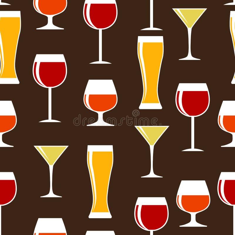酒精玻璃剪影无缝的样式 库存例证