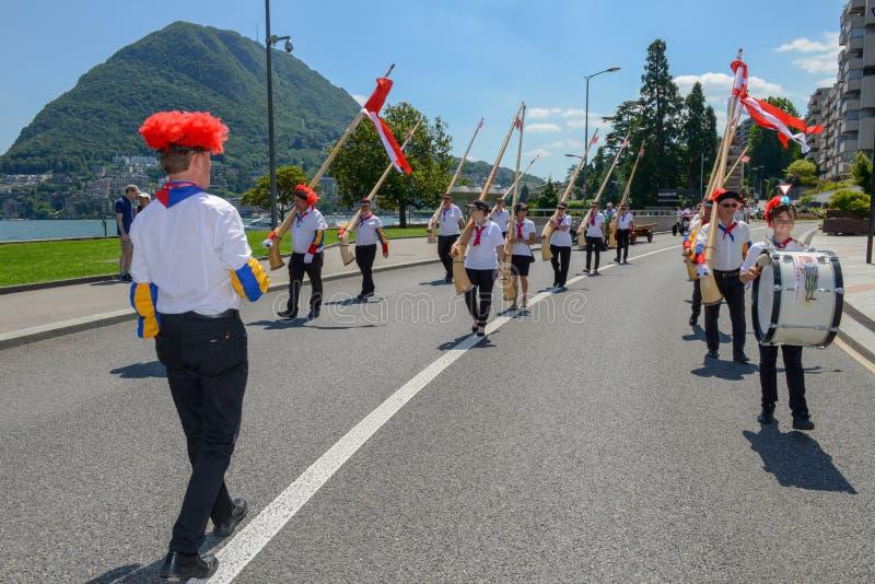 酒节的音乐游行在瑞士的卢加诺 库存照片