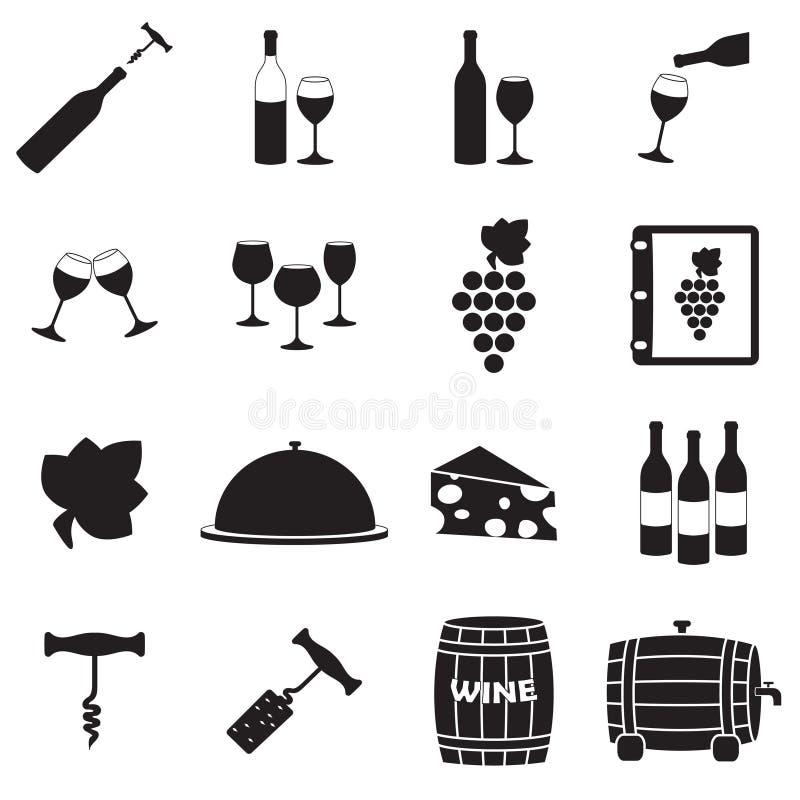 酒象集合 餐馆和酿酒厂设计元素:瓶,开启者,玻璃,葡萄,桶 食物和饮料标志 传染媒介illustrat 库存例证