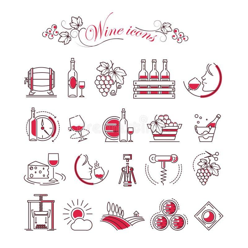 酒辅助葡萄酒酿造传染媒介象玻璃瓶拔塞螺旋开启者和生产滚磨 向量例证