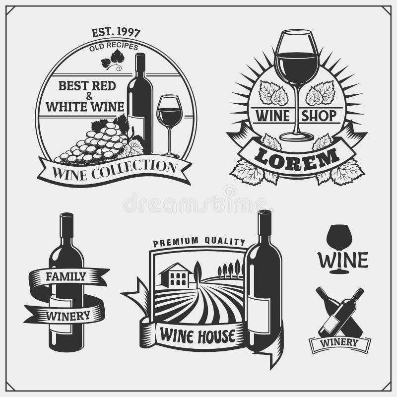 酒铺葡萄酒的汇集象征,标签、徽章和设计元素 向量例证