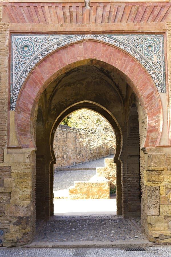 酒门。 阿尔罕布拉宫。 图库摄影