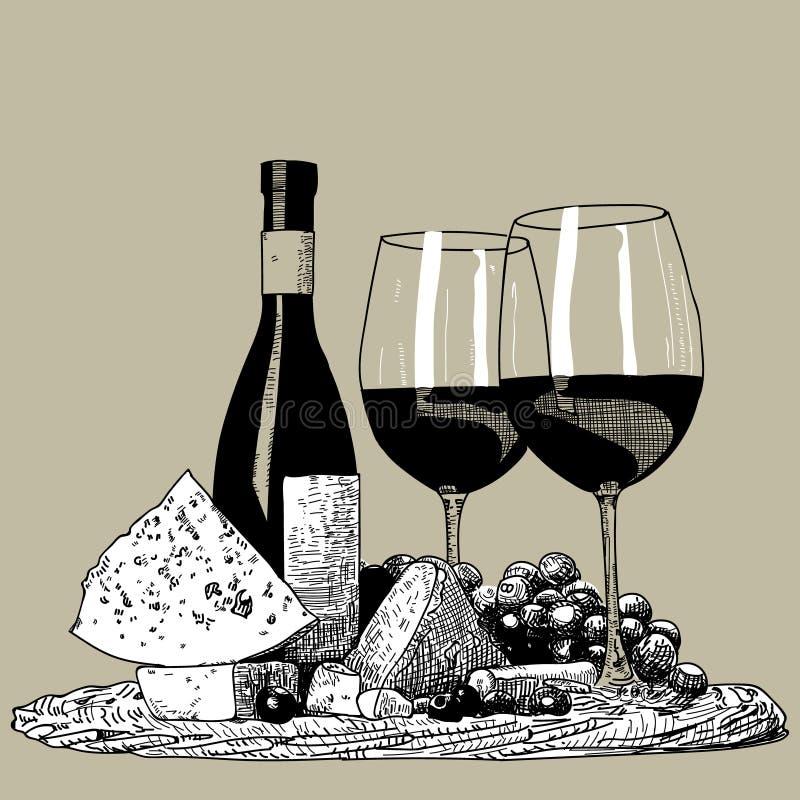 酒集合手拉 一个瓶酒、玻璃、拔塞螺旋和一束葡萄 皇族释放例证
