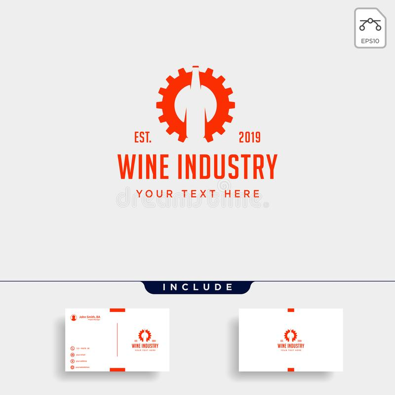 酒齿轮商标设计酒精工厂传染媒介象元素 皇族释放例证