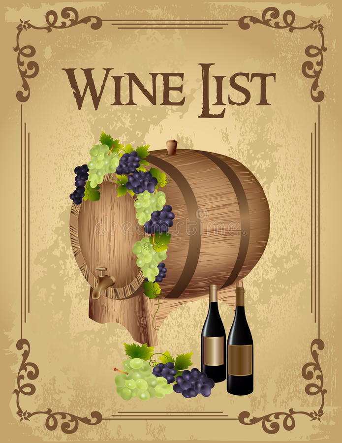 酒类一览表 皇族释放例证