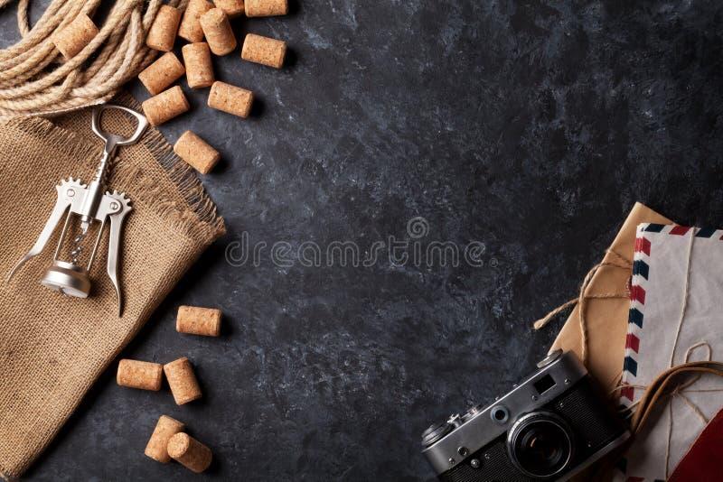 酒黄柏,拔塞螺旋,葡萄酒照相机 免版税图库摄影