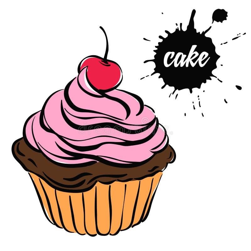 酥皮点心甜点杯形蛋糕 向量例证