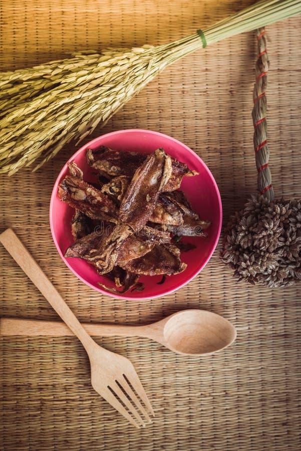 酥脆乌贼,泰国食物 免版税图库摄影