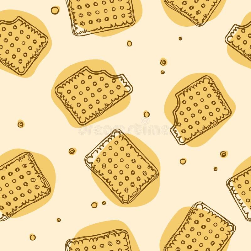 酥脆在黄色颜色的薄脆饼干无缝的纹理 库存例证