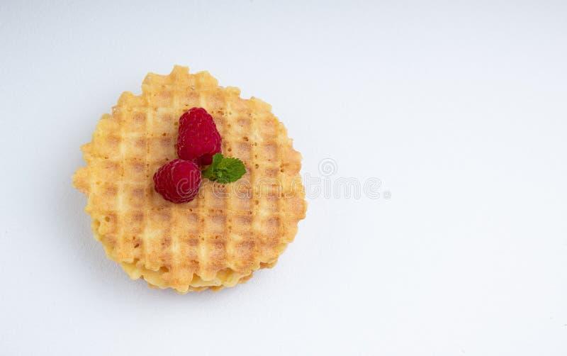 酥脆比利时华夫饼干用莓莓果和白色织地不很细表面上的薄荷叶 免版税库存照片