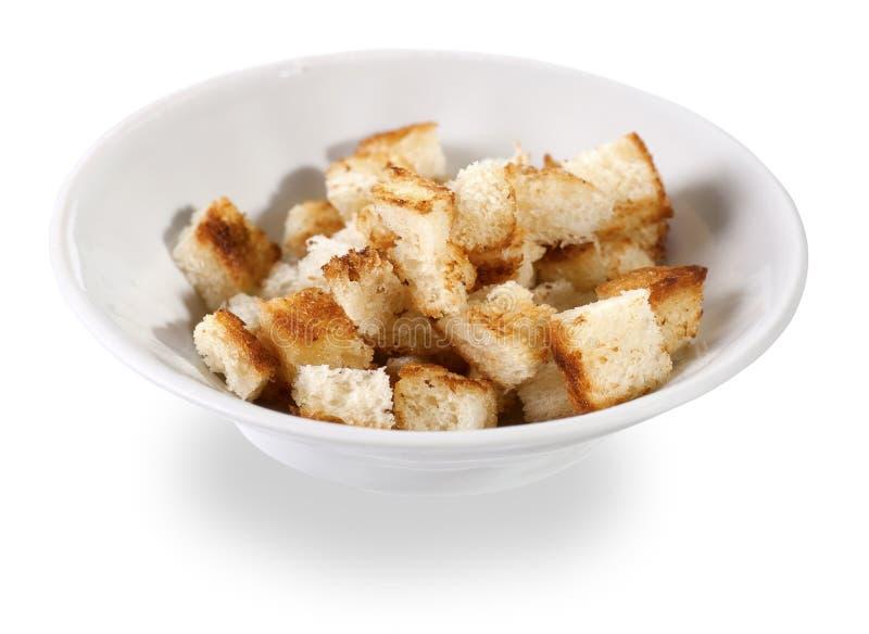酥脆油煎方型小面包片 库存照片