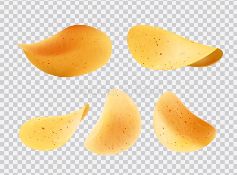 酥脆芯片由土豆制成切传染媒介象 向量例证